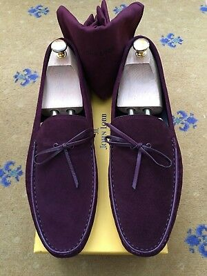 New John Lobb Men Shoes Purple Aubergine Suede Loafer Driver UK 9.5 US 10.5 43.5