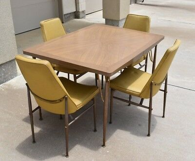 Vintage 50's 60's Virtue Brothers Formica Dining Table With 12'' Leaf & 4 Chairs