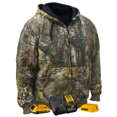 DeWalt DCHJ074D12X 20V MAX RealTree Camo Heated Hoodie w/ Battery Kit - 2XL New