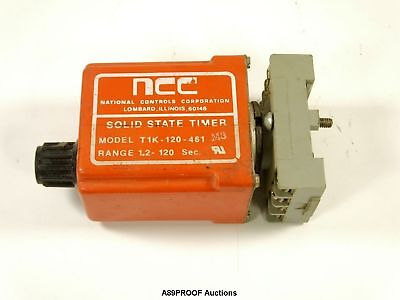 NCC Solid State Timer T1K-120-461 1.2-120 Sec DPDT Timing Relay 120VAC w/ Base