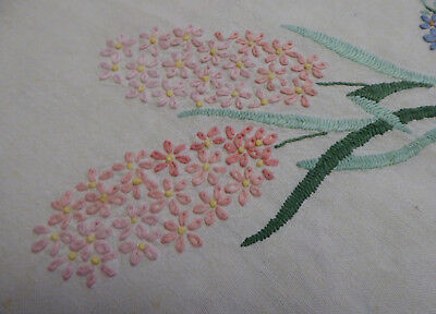 Vintage Hand Embroidered Linen Table Cloth Size 48 Inches Square