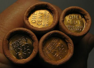 4 ROLLS MYSTERY TAILS/TAILS LINCOLN WHEAT CENT OBW ORIGINAL BANK WRAPPED BU UNCv