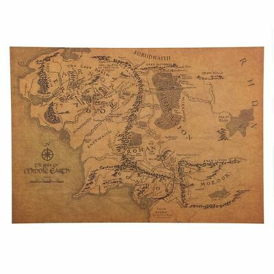 Vintage Middle Earth Map On The Lord Poster Wall Sticker Placard Home Decoration