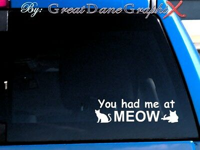 You Had Me at Meow Cat Decal Sticker / Color Choice - HIGH QUALITY