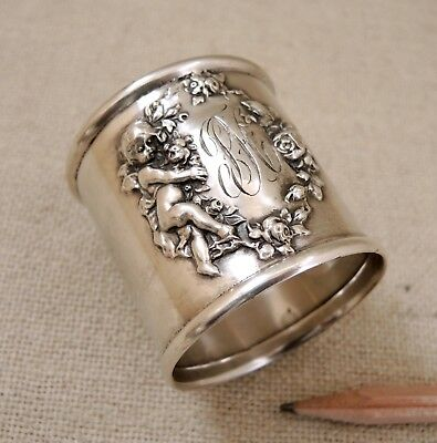 Antique Woodside Sterling Silver Footed Napkin Ring Cherub Ornate Putti Vtg 37g