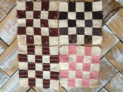 ~Back In Time Textiles~4 Antique mid 1800's Quilt blocks madders doll quilts~