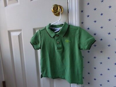 Boys Janie and Jack Green Dinosaur Polo Collared Shirt Preppy Size 18-24 Months