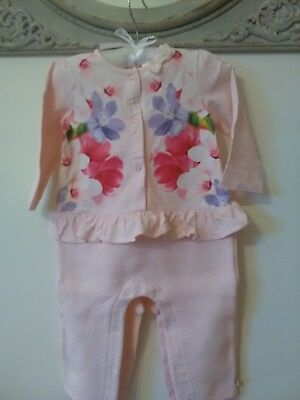 Baby Girls Beautiful Ted Baker All in One Jumpsuit Pink Floral 9-12 Mths Frill