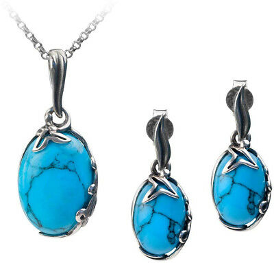 Womens Vintage Estate Sterling Silver Necklace & Bracelet W/ Turquoise E3386 Other Fine Jewelry Sets Fine Jewelry