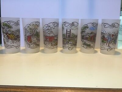Vintage Set of 6 CURRIER & AND IVES FROSTED ICED TEA GLASSES TUMBLERS