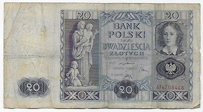 Poland 20 Zlotych 1936 Free Shipping