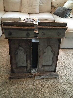 Antique Gothic Architectural Salvage Pair Wall Panels Stunning Patina