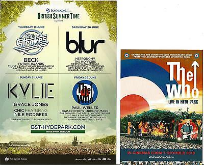 The Who  Kylie Blur Strokes  Hyde Park 2015 Promo Flyer  + The Who Cinema Flyer
