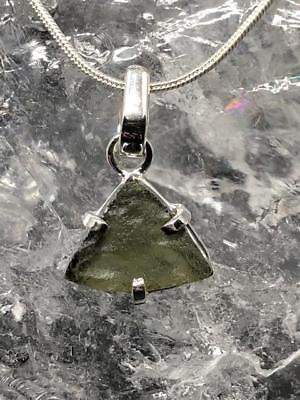 Moldavite Sterling Silver Pendant ~ High Vibration~Transformational Stone ~3gm