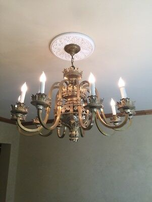 Anitique French 10 Arm Chandelier Large Stunning