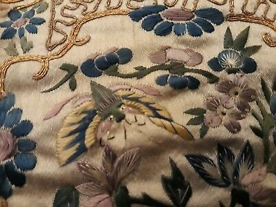 Antique Vintage Chinese Hand - Stitched Silk Embroidery Panel Shanghai Textiles