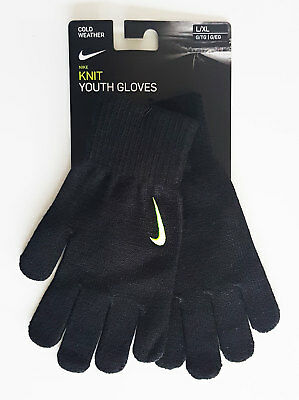 Nike Gloves Knit Youth Boys Girls Black Volt S/M or L/XL 8 to 15 Years New