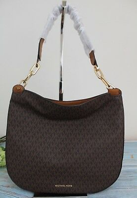 8c4fd5638b2c43 Michael Kors Fulton Large Signature Logo Hobo Light Weight Shoulder Bag  Vanilla
