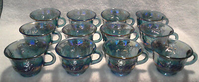 Indiana Glass Blue Carnival Harvest Princess Grape Punch Cups set of 12