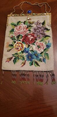 Antique Glass Micro Beaded Floral Purse Handbag and Jeweled Frame