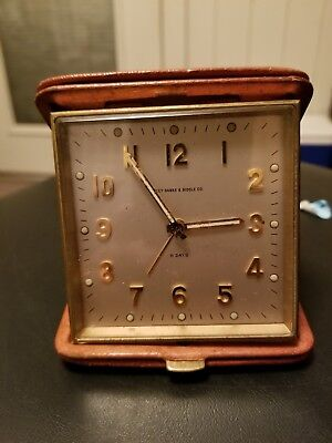 Rare Bailey Banks & Biddle Co 15 Swiss Jewel Movement Travel Alarm Clock In Case
