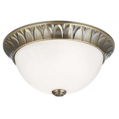 Classic Flush Ceiling Light In Antique Brass With Frosted Glass Shade 4148-28Ab