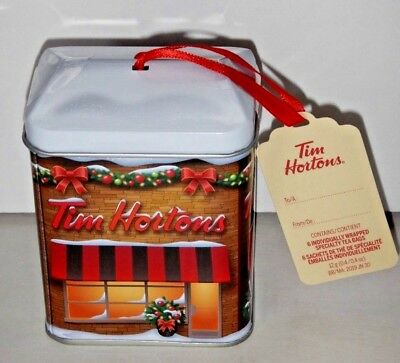 NEW 2017 Tim Hortons Rare CANADA Christmas Ornament Tea Box Tin Holiday  Store - NEW 2017 TIM Hortons Rare CANADA Christmas Ornament Tea Box Tin