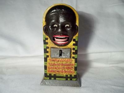 Cast Iron Black Americana Fortune Coin Token Mechanical Bank Eyes & Tongue Move
