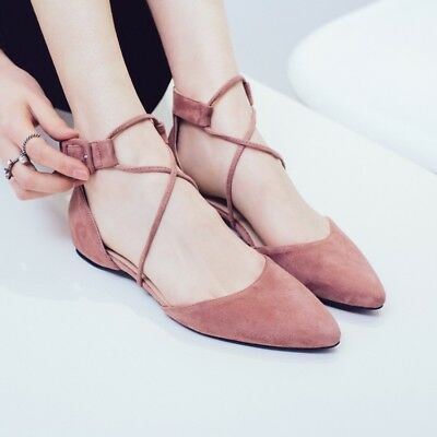 90ee77cfd07d New Lace Up Flats Suede Pointy Toe Shoes Women s Ballet Casual Strappy  Sandals