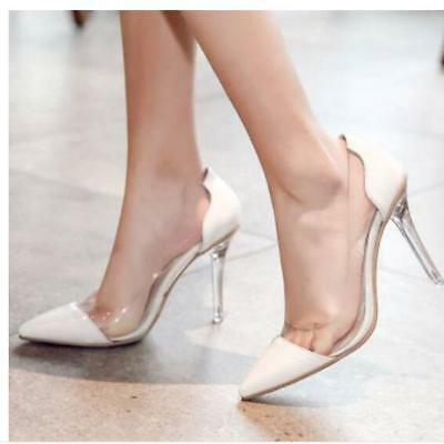 3997bb028f76 Womens Sexy Transparent Clear Pointed Toe Stiletto High Heel Pumps Party  Shoes