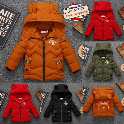 Toddle Kids Baby Boy Girl Beer Winter Warm Thick Coat Jacket Hooded Outerwear US
