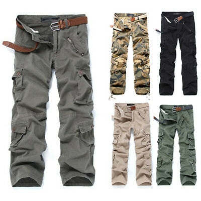 Military Men's Cotton Cargo Long Pants Combat Camouflage Camo Army Trousers Hot