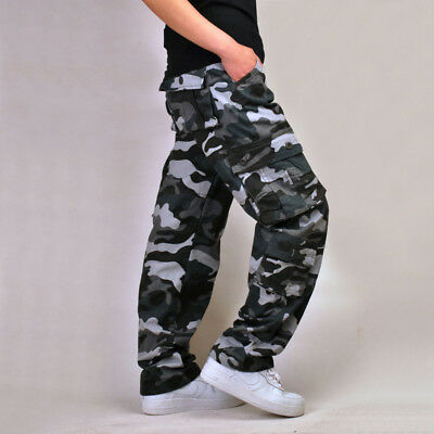 Combat Men's Cotton Cargo Army Long Pants Military Camouflage Camo Trousers