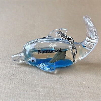 "Dolphin clear plastic keychain, baby & blue liquid inside, 2.75"" long, Nantucket"