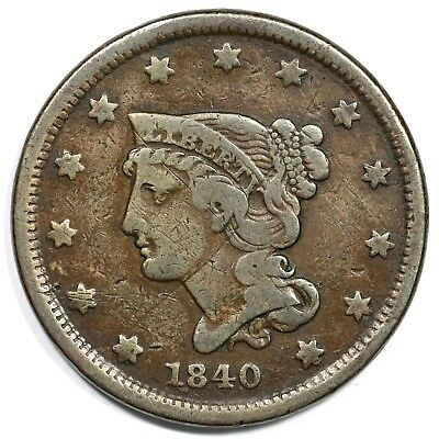1840 Small Date Braided Hair Large Cent Coin 1