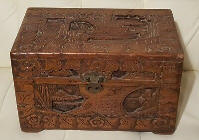 Vintage Antique Hand Carved Wooden Box Asian Chinese chest stamped on bottom