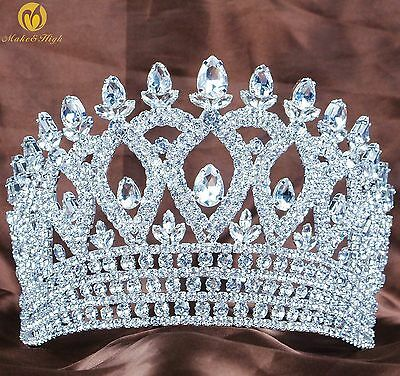 """Miss Pageant 4.7"""" Hair Crowns Clear Crystal Tiaras Diadem Wedding Party Prom"""