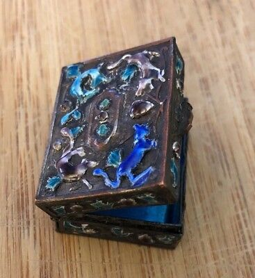 Antique Chinese Enamel Glass on Copper Hinged Pill or Snuff Box
