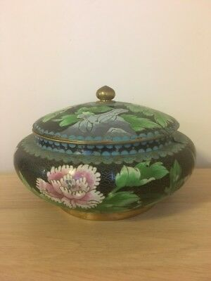 Vintage/Antique Chinese Cloisonne Hand Painted on Brass bowl with lid