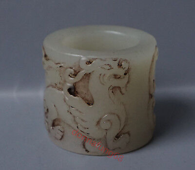 Chinese Exquisite Hand-carved Kirin carving Hetian jade Fingerstall