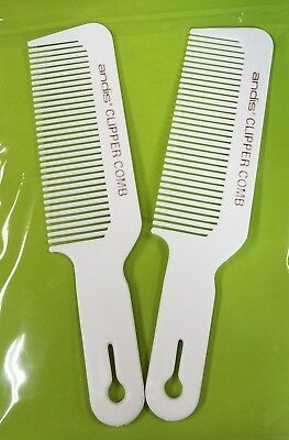 2 Andis Barber Stylist Clipper Comb Cutting Flat TopTaper White