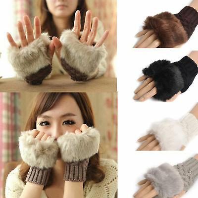 Womens Plush Fur Hand Wrist Winter Warm Knitted Ladies Fingerless Mittens Gloves