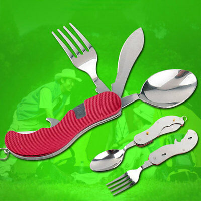 Portable Compact Folding Spoon Knife Fork 3 in1 Utensil Set Travel Camping NEW