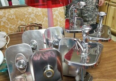 Vintage Style Soda Fountain Syrup pumps and serving spoons - Stainless steel