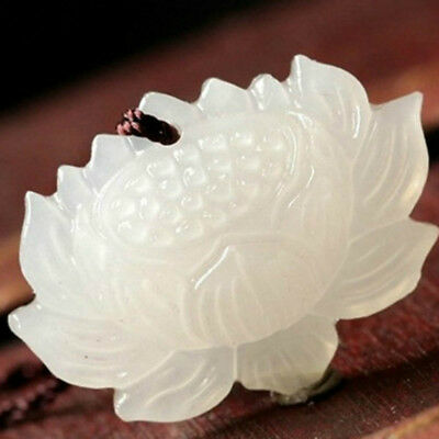 Jade Jewelry Ethnic Flower Natural Dotted White Jade Hand-carved Lotus Pendant