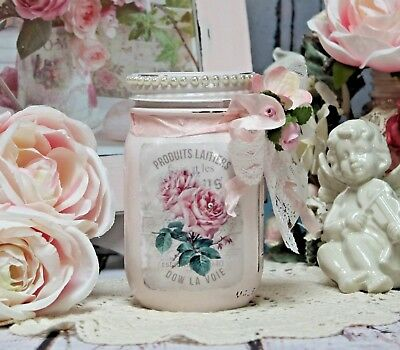 ~ Shabby Chic French Style Vintage Painted Decoupage Mason Jar Lace Trim ~