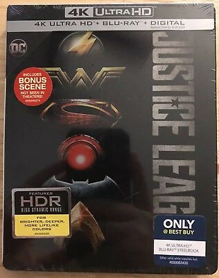 Dc Justice League 4K Ultra Hd + Blu Ray Best Buy Exclusive Steelbook Free Shippi