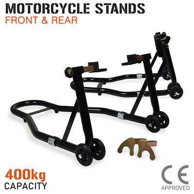 Motorcycle Stand FRONT & REAR Motorbike Lift Paddock Carrier Stands Fork Bike