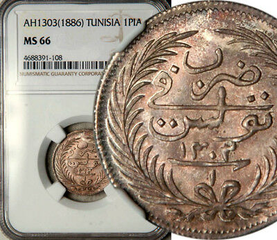 Ngc Ms-66 Tunisia Silver 1 Piastre Ah1303 (1886) The Only One Graded By Ngc!