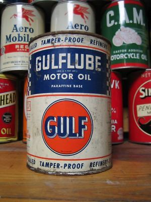Vintage Original Gulflube Gulf Motor Oil Can Full Quart Blue Checkered Qt